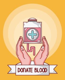 Doe bolsa de sangue com as mãos