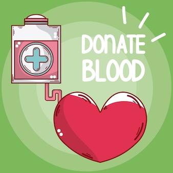 Doe bolsa de sangue e coração