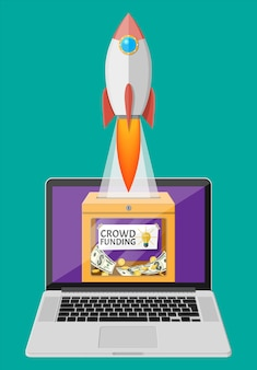 Doe caixa com dinheiro e foguete espacial no laptop. projeto de financiamento, captando contribuições monetárias de pessoas. conceito de crowdfunding, inicialização ou novo modelo de negócios.