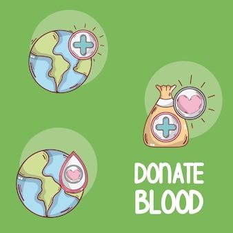 Doe cartoons de sangue redondo ícones