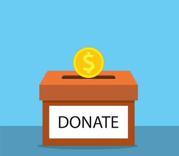 Doe dinheiro com caixa