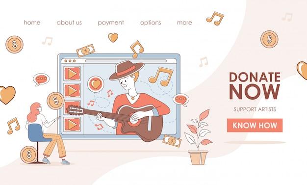 Doe e apoie artistas durante o modelo da página de destino da crise econômica global. homem tocando violão e cantar. Vetor Premium