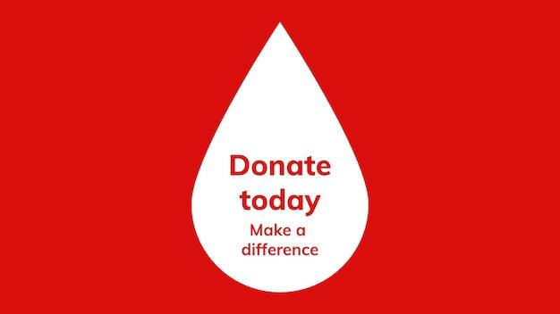 Doe hoje banner de anúncio da campanha de doação de sangue de vetor de modelo de caridade em estilo minimalista