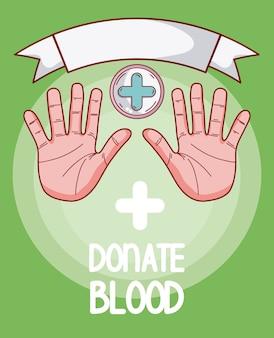 Doe mãos de sangue com as palmas das mãos abertas e símbolo médico