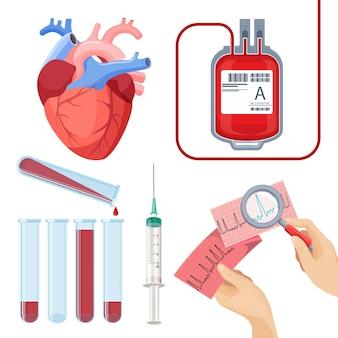 Doe o conceito de sangue. saco plástico de serviço do doador, frascos e seringa, eletrocardiograma nas mãos
