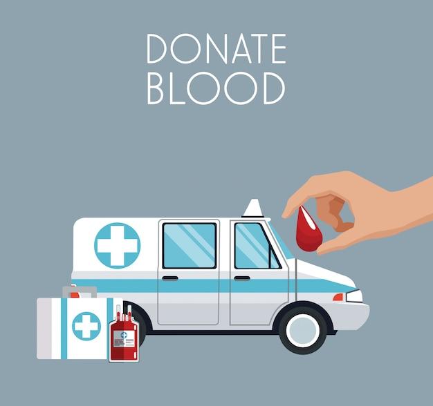 Doe sangue ambulância emergência médica