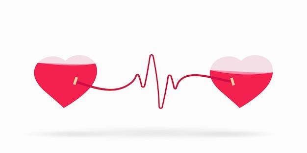 Doe sangue com coração para banner.