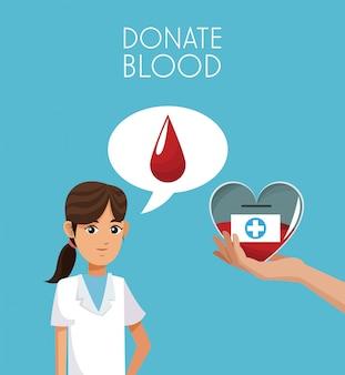 Doe sangue com desenhos de paramédico