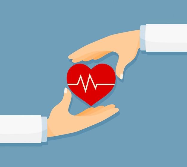 Doe sangue. conceito de medicina e saúde com coração e mão.