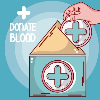 Doe sangue médico tenda e mão
