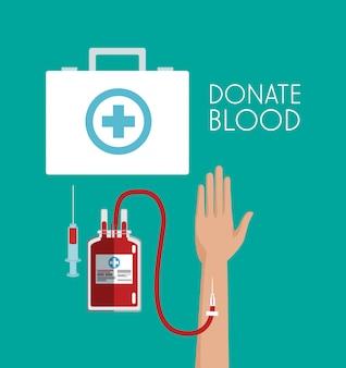 Doe sangue primeiro ajuda a mala e elementos