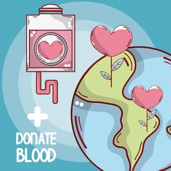 Doe sangue terra e bolsa de sangue