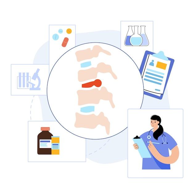Doença da coluna vertebral com hérnia de disco. conceito de hérnia intervertebral