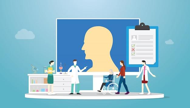 Doença de alzheimer com conceito de médico e paciente