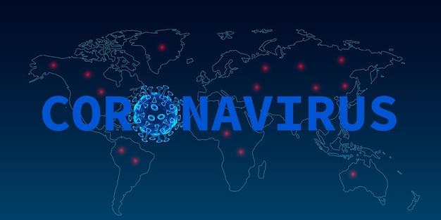 Doença por coronavírus covid infecção médica risco de pandemia no fundo do mapa mundial