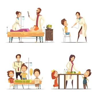 Doente, crianças, tratamento, em, hospitalar, 4, retro, caricatura, ícones, com, doutores, enfermeira, e, pais