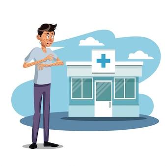 Doentes de doença de cena com sarampo ao ar livre do hospital