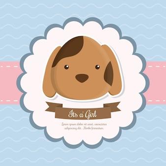 Dog animal cartoon baby shower cartão celebração