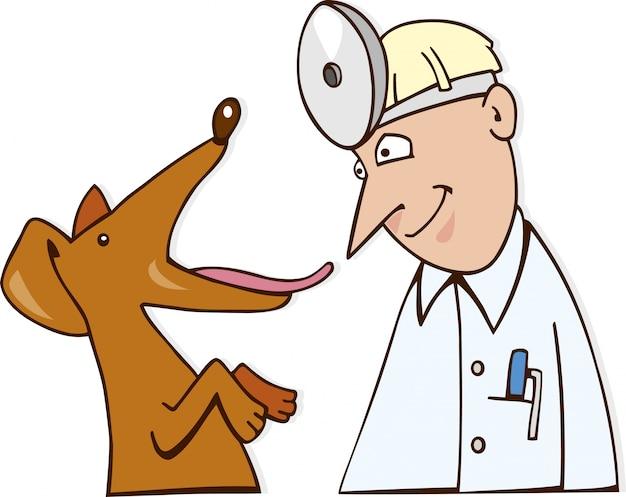 Dog at vet cartoon