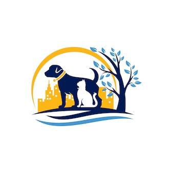 Dog cat logo template veterinária