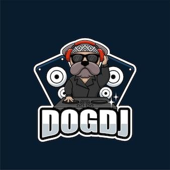 Dog dj cartoon design de logotipo musical criativo