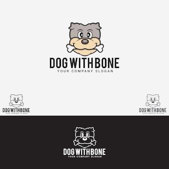 Dog with bone logo Vetor Premium