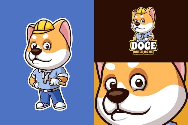 Doge home build criativo cartoon mascote logo design
