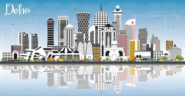 Doha qatar city skyline com edifícios de cor, céu azul e reflexos. ilustração vetorial. viagem de negócios e conceito com arquitetura moderna. paisagem urbana de doha com pontos turísticos.