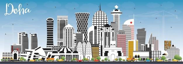 Doha qatar city skyline com edifícios de cor e céu azul. ilustração vetorial. viagem de negócios e conceito com arquitetura moderna. paisagem urbana de doha com pontos turísticos.