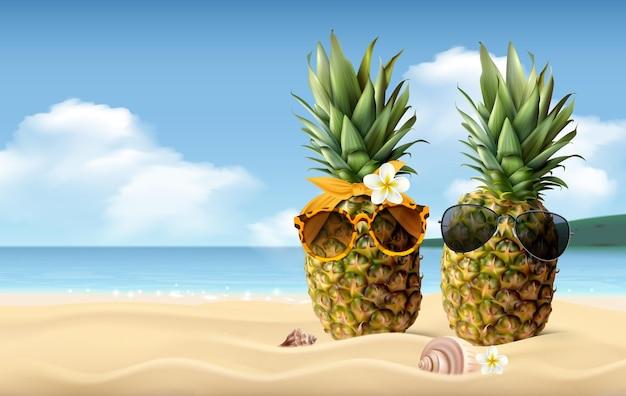 Dois abacaxis com óculos de sol na areia da praia, composição realista de verão