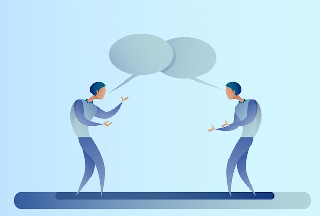 Dois, abstratos, homem negócios, falando, conversa caixa, bolha, comunicação, conceito, homem negócio