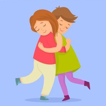 Dois amigos, abraçando, junto