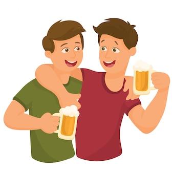 Dois amigos, bebendo, cerveja