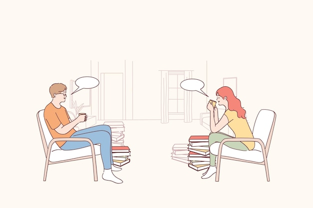 Dois amigos, estudantes, trabalhadores ou colegas sentados, conversando e bebendo chá ou café juntos durante o intervalo ou na hora do almoço