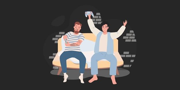 Dois amigos jogando em um console de jogos em casa. ilustração vetorial de desenho animado