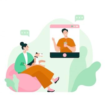 Dois amigos na reunião de vídeo. videoconferência, trabalhando em casa, distanciamento social, discussão de negócios. ilustração vetorial plana