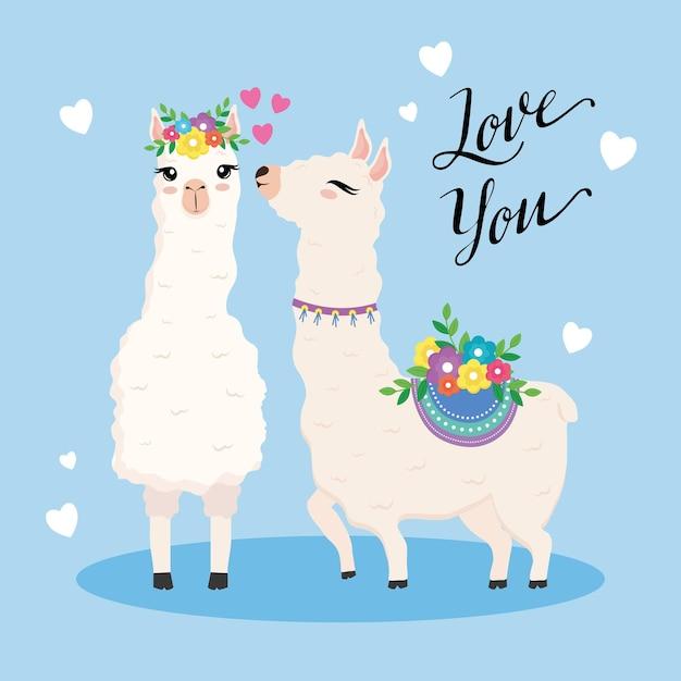 Dois animais exóticos bonitos de alpacas com flores e desenho de ilustração de letras