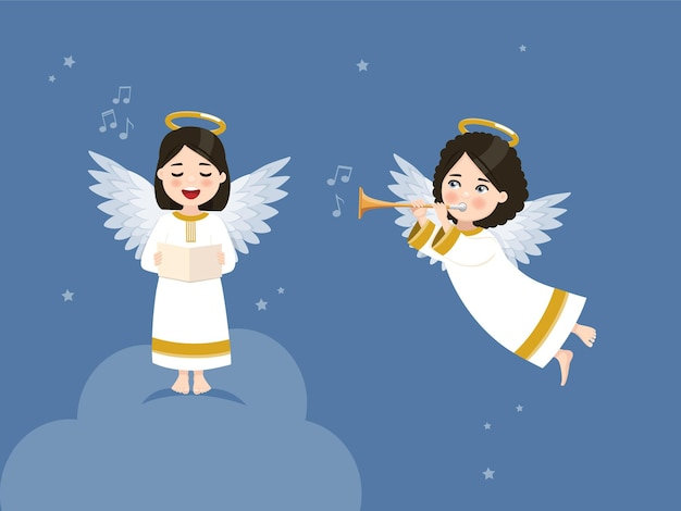 Dois anjos cantando e tocando trombeta no céu azul com estrelas.