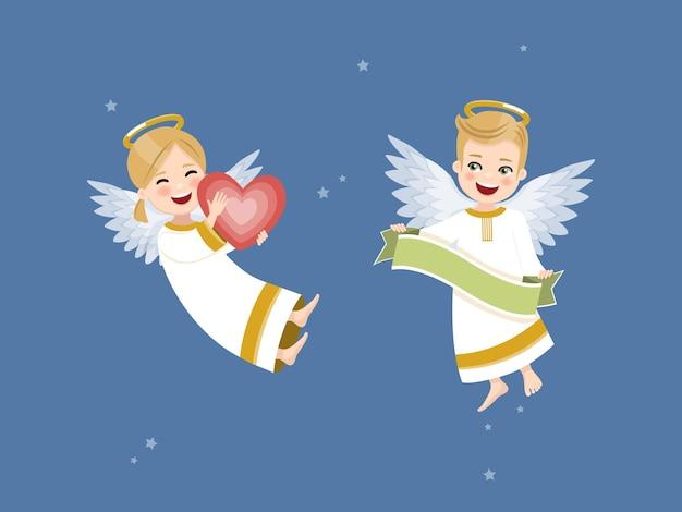 Dois anjos com coração e fita no céu com estrelas.