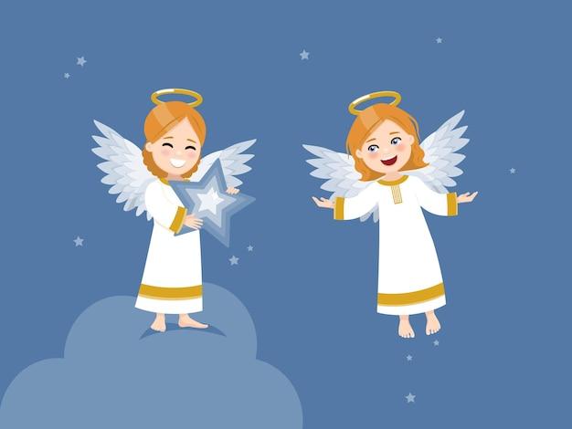 Dois anjos com uma estrela e voando no céu com estrelas.