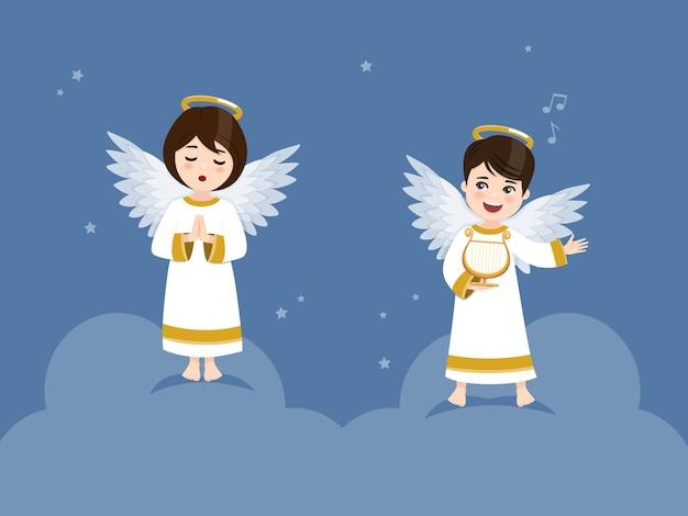 Dois anjos tocando harpa e orando no céu com estrelas.