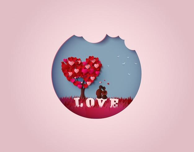 Dois apaixonados debaixo de uma árvore de amor