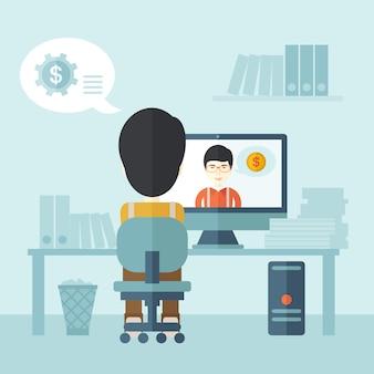 Dois asiáticos falando on-line
