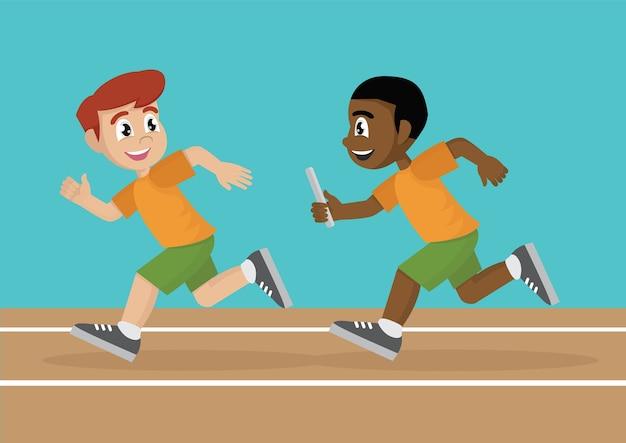 Dois atletas do boy estão competindo uma corrida de revezamento na pista.