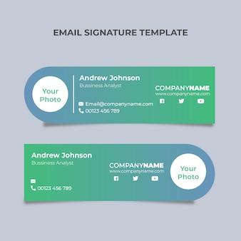 Dois azul verde assinatura de e-mail