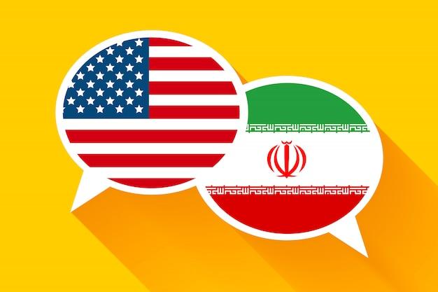 Dois balões de fala com bandeiras dos eua e do irã