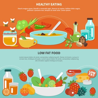 Dois banner plano de alimentação saudável com ilustração de bebida e comida feita de vegetais e frutas
