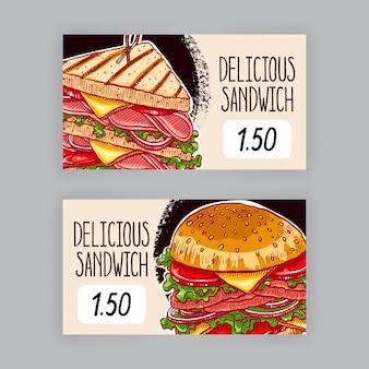 Dois banners bonitos com sanduíches apetitosos. etiquetas de preço. ilustração desenhada à mão