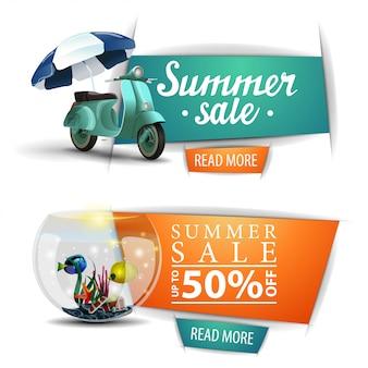 Dois banners clicáveis de venda de verão com botões