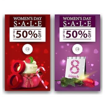 Dois banners de desconto para o dia da mulher com bolinho e rosa